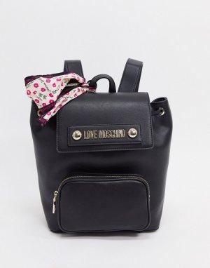 Черный рюкзак с шарфом Love Moschino