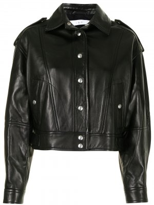 Panelled leather jacket IRO. Цвет: черный