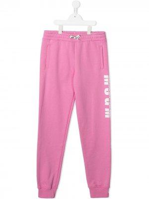Спортивные брюки с логотипом Msgm Kids. Цвет: розовый