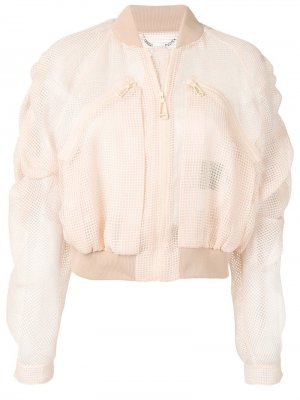 Укороченная сетчатая куртка-бомбер Fendi. Цвет: бежевый