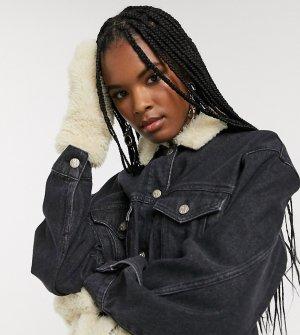 Джинсовая oversize-куртка с варежками и искусственным мехом -Черный Reclaimed Vintage