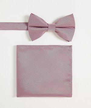 Пыльно-розовый атласный набор из галстука-бабочки и платка для пиджака -Розовый цвет ASOS DESIGN