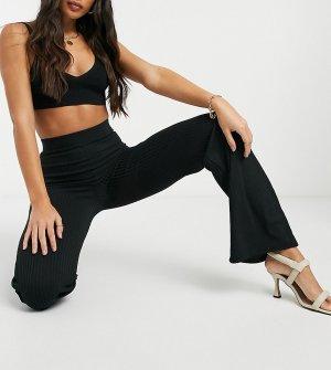 Черные широкие брюки в рубчик -Черный Club L London Tall