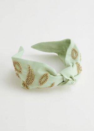 Повязка-ободок на голову с узлом спереди &Other Stories. Цвет: зеленый