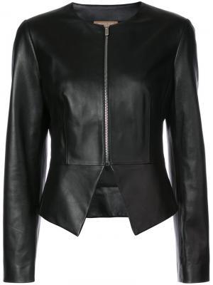 Кожаная куртка без воротника Michael Kors. Цвет: чёрный