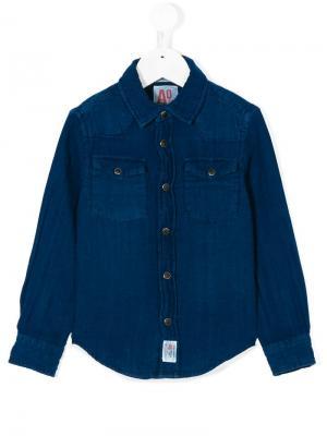 Рубашка на пуговицах American Outfitters Kids. Цвет: синий