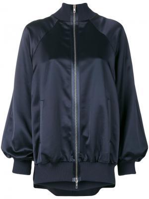 Атласная куртка-бомбер Maison Margiela. Цвет: синий