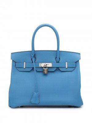 Сумка Birkin 30 2015-го года Hermès. Цвет: синий