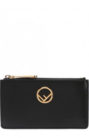 Кожаный футляр для кредитных карт с отделением на молнии Fendi. Цвет: черный