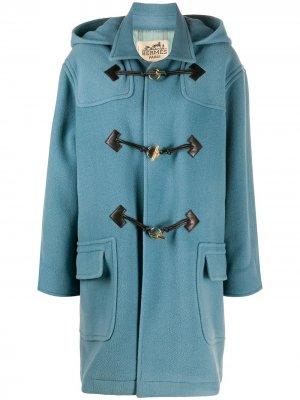 Дафлкот 2000-х годов с капюшоном Hermès. Цвет: синий