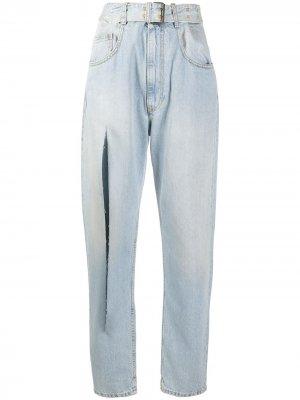 Зауженные джинсы с разрезом Maison Margiela. Цвет: синий