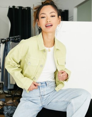 Укороченная джинсовая oversized-куртка зеленого лаймового цвета (от комплекта) Nina-Зеленый цвет Waven
