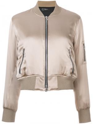 Шелковая куртка-бомбер Amiri. Цвет: телесный