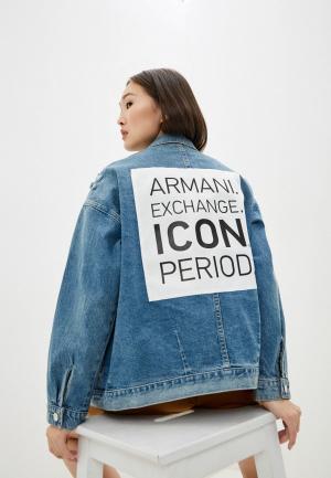 Куртка джинсовая Armani Exchange ICON. Цвет: голубой