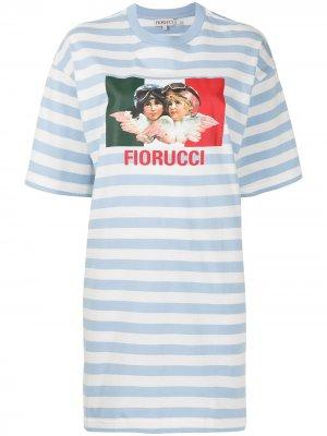 Платье-футболка с графичным принтом Fiorucci. Цвет: синий