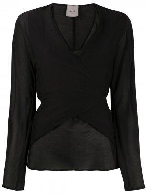 Блузка с запахом и завязками сзади Alysi. Цвет: черный