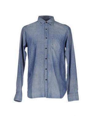Джинсовая рубашка KURO. Цвет: синий