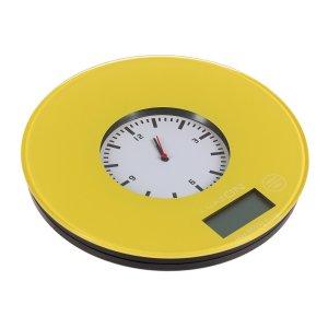 Весы кухонные luazon lvk-508, электронные, до 5 кг, встроенные часы, жёлтые Home