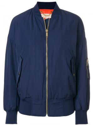 Куртка-бомбер с заниженной линией плеч Michael Kors. Цвет: синий