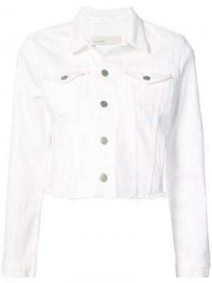 Джинсовая куртка с необработанным подолом Grlfrnd. Цвет: белый