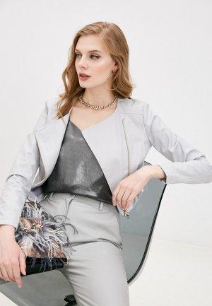 Куртка кожаная Patrizia Pepe. Цвет: серый