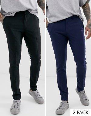 Строгие супероблегающие брюки черного и темно-синего цвета ASOS DESIGN