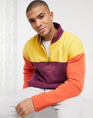 Свитшот-пуловер на короткой молнии в фиолетовом и желтом цветах -Фиолетовый Hi-Tec