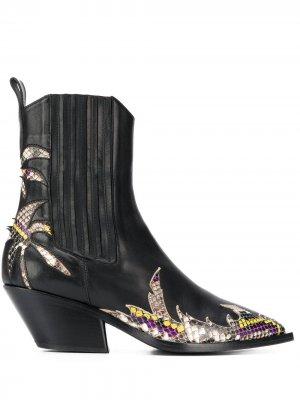 Ковбойские ботинки с контрастными вставками A.F.Vandevorst. Цвет: черный