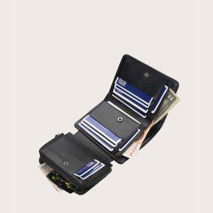 Мужской складной кошелек с текстовым принтом SHEIN. Цвет: чёрный