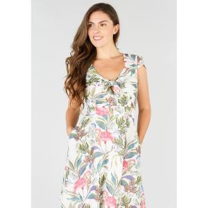 Платье прямое с цветочным рисунком средней длины, 3/4 DERHY. Цвет: белый наб.рисунок