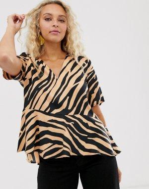 Блузка с тигровым принтом Turlington-Коричневый цвет In Wear