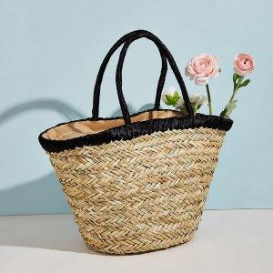 Соломенная сумка-тоут большей емкости SHEIN. Цвет: хаки
