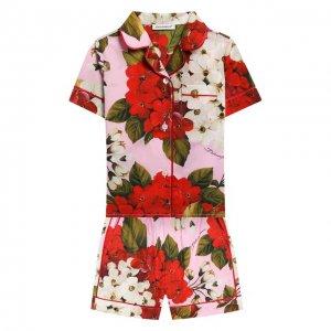 Хлопковая пижама Dolce & Gabbana. Цвет: розовый