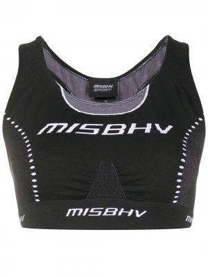 Укороченный топ с жаккардовым логотипом MISBHV. Цвет: черный