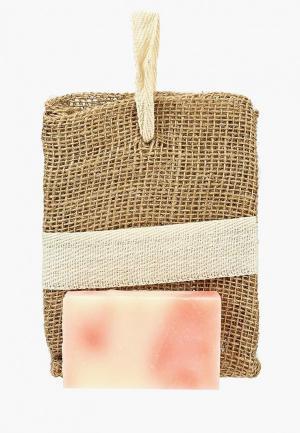 Набор для ухода за телом Мануфактура Дом Природы Джутовая мочалка + мыло Роза