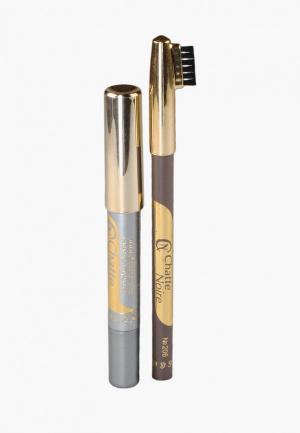 Набор для макияжа бровей Chatte Noire Карандаш + Карандаш-тени №111, 3,46. Цвет: разноцветный