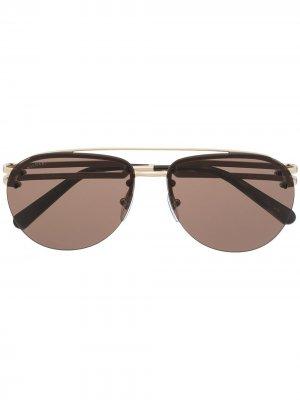 Солнцезащитные очки-авиаторы Bvlgari. Цвет: коричневый