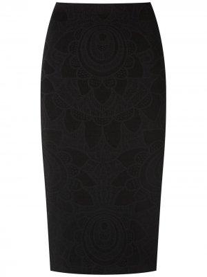Жаккардовая юбка миди Martha Medeiros. Цвет: черный
