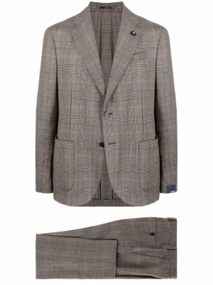 Клетчатый костюм с однобортным пиджаком Lardini. Цвет: коричневый
