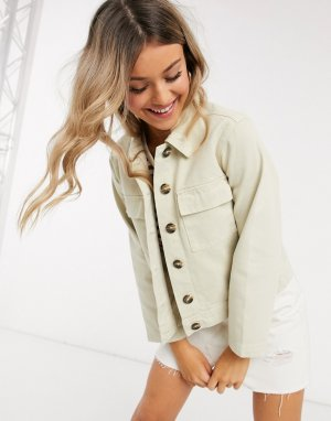 Кремовая джинсовая куртка с карманами в стиле милитари -Кремовый Pieces