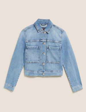 Укороченная джинсовая куртка M&S Collection. Цвет: умеренный индиго