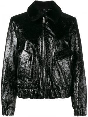 Куртка-бомбер с вышивкой роз Ganni. Цвет: чёрный