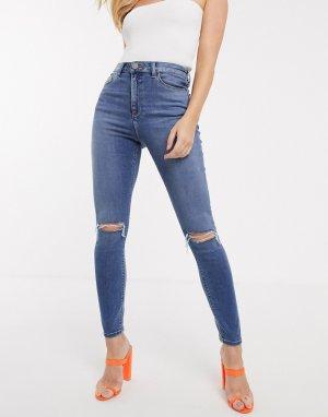 Зауженные джинсы с завышенной талией и рваной отделкой на коленях Ridley-Синий ASOS DESIGN