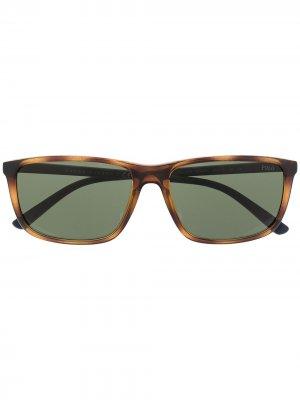 Солнцезащитные очки в оправе черепаховой расцветки Polo Ralph Lauren. Цвет: зеленый