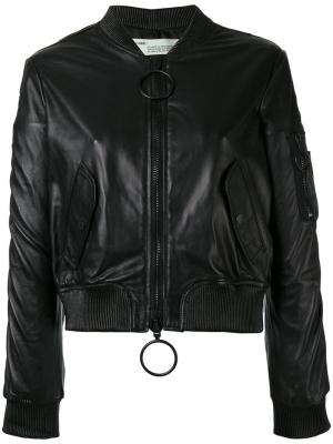 Укороченная кожаная куртка-бомбер Off-White. Цвет: чёрный