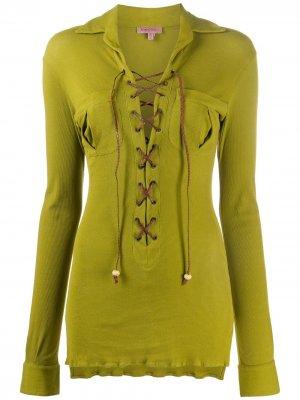 Блузка 1990-х годов с длинными рукавами и шнуровкой Romeo Gigli Pre-Owned. Цвет: зеленый