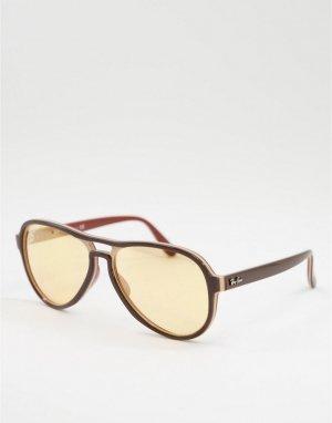 Коричневые солнцезащитные очки-авиаторы унисекс в стиле 70-х 0RB4355-Коричневый Ray-Ban