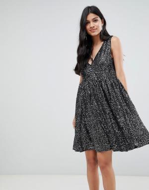 Платье миди с пайетками Techna-Черный Deby Debo