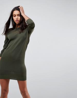 Трикотажное платье в рубчик с прозрачными вставками ASOS DESIGN