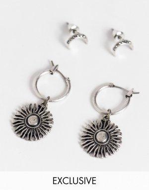 Комплект серебристых сережек с луной и звездами Inspired-Серебристый Reclaimed Vintage